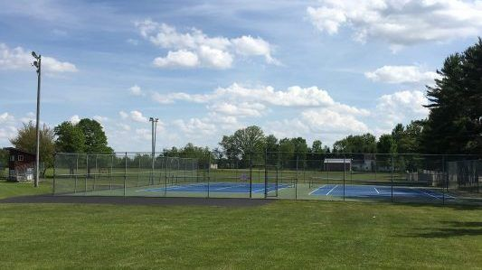 Photo of tennis courts at New Auburn School