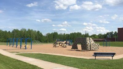 Picture of the playground on the north side of New Auburn School